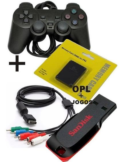 Kit - Controle+memorycard+opl+pendrive 32gb+jogos+cabo