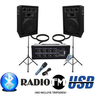 Combo Consola 9 Canales 300w Usb Sd Bluetooth + 2 Bafles 12