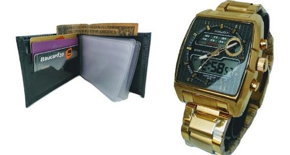 Relógio Masculino Dourado Original Luxo Prova Dágua+carteira