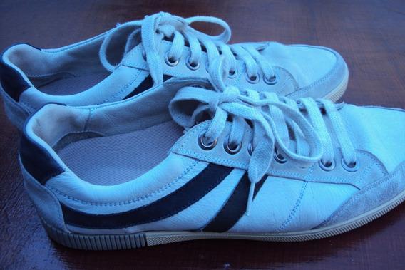Zapatillas Mujer Marfil-gris Nº 39,5 Cuero Genuino