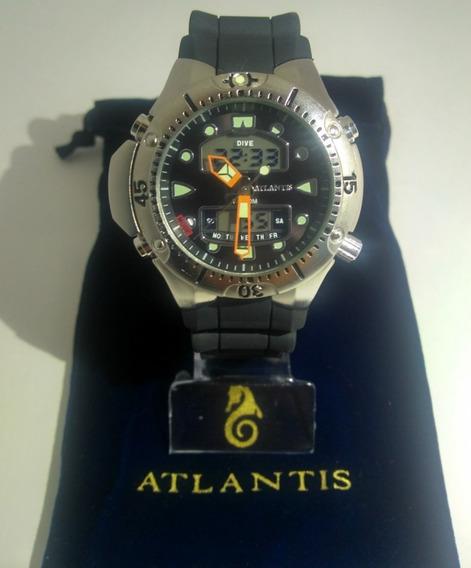 Relogio Masculino Atlantis G3154 Aqualand Fundo Preto Box