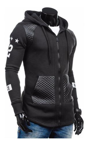 Chaqueta Con Capucha Negra Leather Hoodie Warm Coat Jacket