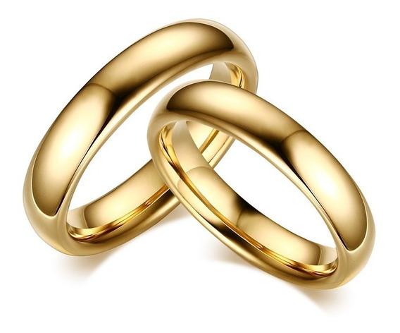 Alianças Anéis Tradicionais Tungstênio 4 6mm Banhado A Ouro