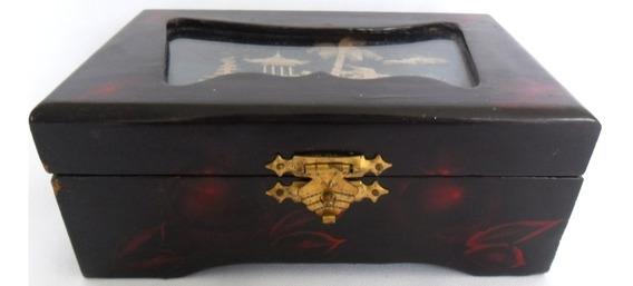 Porta Jóias Caixa Japonesa Estojo Antigo De Madeira Laqueada