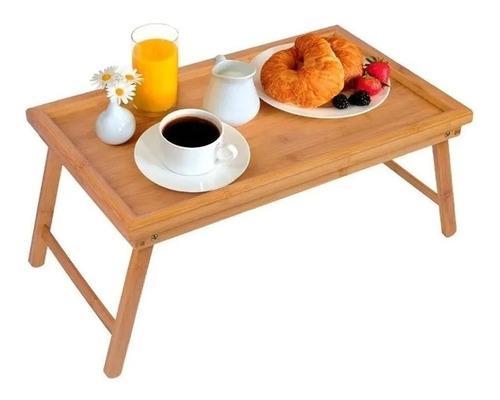 Imagen 1 de 3 de Mesa Bandeja De Apoyo  Cama Desayuno 50 X 30 Cm Bambú