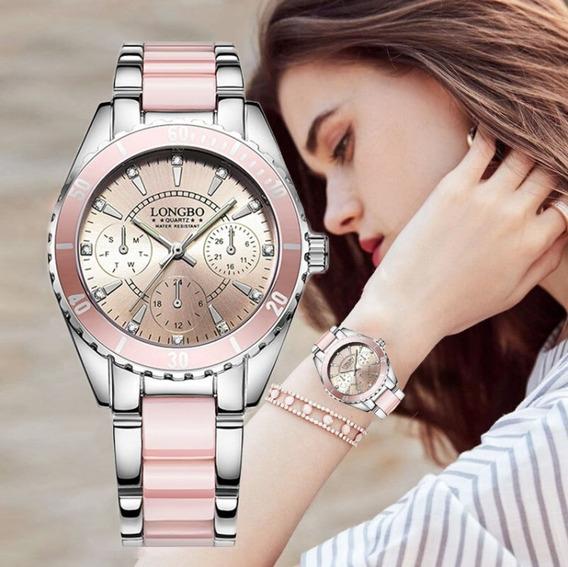 Reloj Pink Star Mujer Acero Inoxidable Waterproof!
