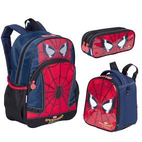 Kit Mochila Spiderman Homem Aranha 18y + Estojo + Lancheira
