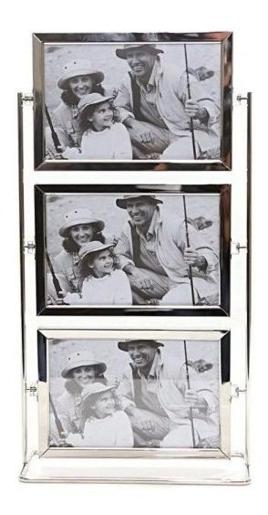 Porta Retrato Alumínio Giratório Triplo Em Pé 6 Fts 10x15cm
