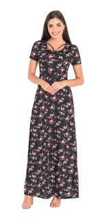 Vestido Longo Estampado Moda Evangélica Preto Florido Festa