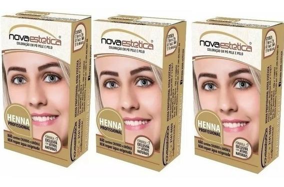 3 Kit Henna P/sobrancelhas Nova Estética Atacado