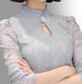 Camisa Feminino Blusa Social Em Renda De Luxo Foto Real Plus