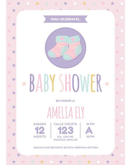 Invitacion Baby Shower Niña Personalizada Digital Imprimible