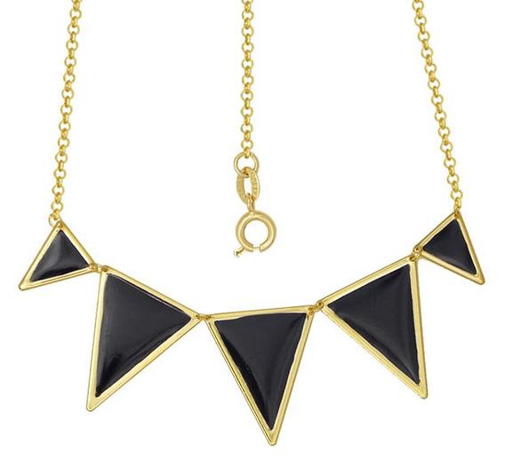 Gargantilha Com 5 Triângulos Com Resina