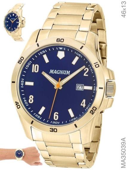 Relógio Masculino Magnum Ma35039a Calendário Dourado Brinde