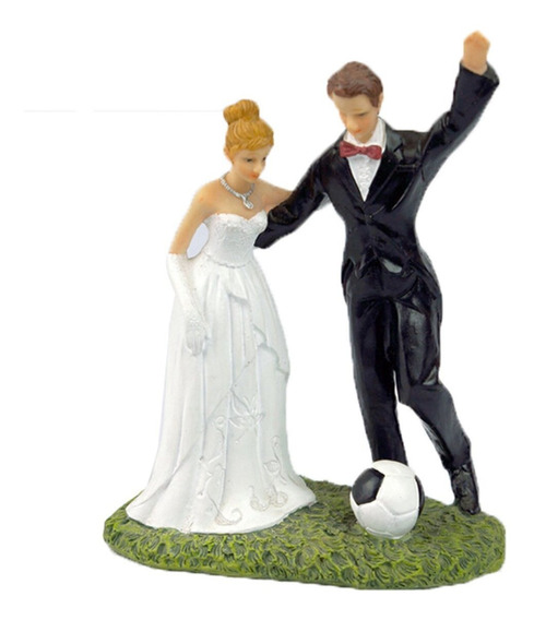 Muñecos De Novios Futball Figura Pastel De Bodas Resina