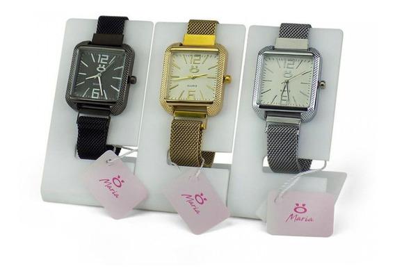 Kit 3 Relógios Feminino Aço Coleção Maria Quadrado