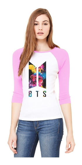 Playera 3/4 Bts, Logo Bts, Colores.
