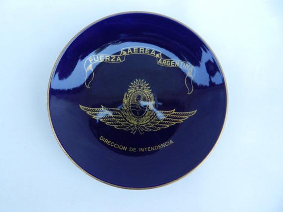 Antiguo Plato Cobalto Oro Tsuji Fuerza Aerea Argentina Aps