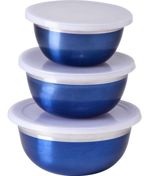 Jogo 3 Potes Tigelas Bowls Colors Aço Inox Azul Com Tampa 3 Peças Class Home Cozinha Servir Guardar Alimentos Notafiscal