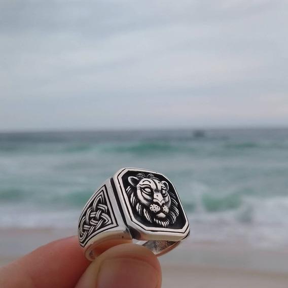 Anel Leão Masculino Em Prata 925k Anéis Em Prata Pura