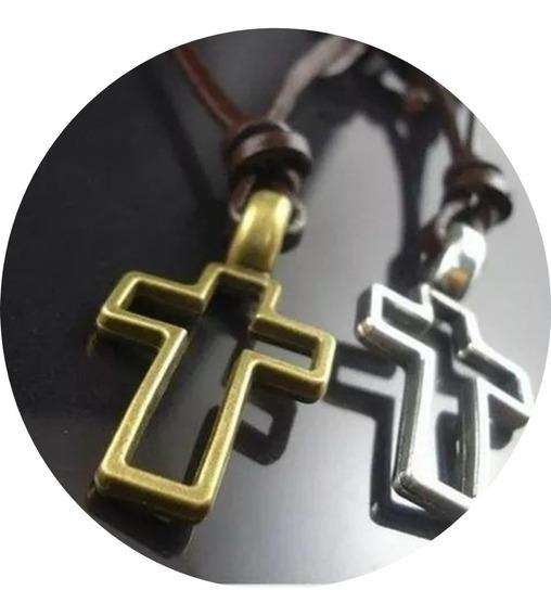 Colar Cordão Cruz Crucifixo Feminino Masculino