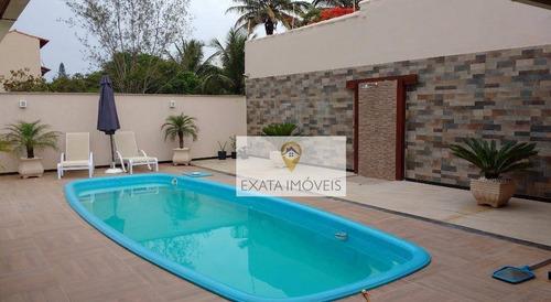 Imagem 1 de 23 de Casa Linear (em Terreno Inteiro) Com Piscina, Ouro Verde, Rio Das Ostras. - Ca0666
