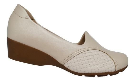 Sapato Feminino Fechado Anabela Modare Ultraconforto Creme