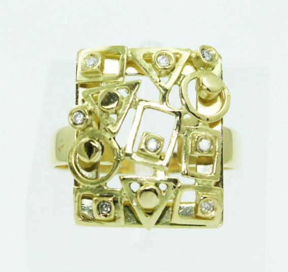 Pocao2005- Anel Ouro 18k Vivara Diamantes 12x S/j Ft/gt 2434