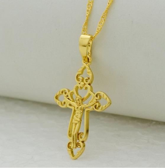 Colar Pingente Crucifixo Vazado Banho Ouro 18 K