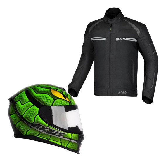 Combo Jaqueta X11 One 2 + Capacete Axxis Snake Outlet