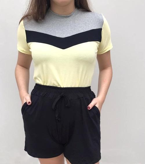 Blusa Camiseta T-shirt Tricolor Recorte Contrastante Listra