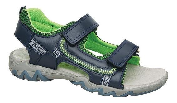 Sandalia Para Agua Zigzag Plumitas Azul Con Abrojo De Niños