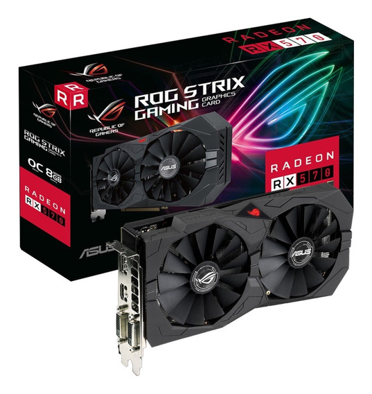 Placa Video Asus Radeon Rx 570 8gb Gddr5 Rog Strix Oc