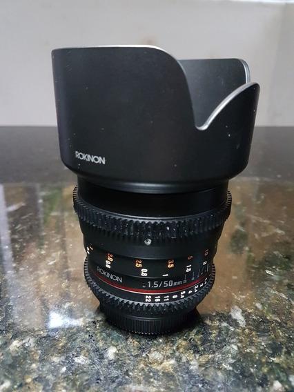 Lente Rokinon Cine 50mm Bocal Canon Ef.Trazida Dos Eua. No