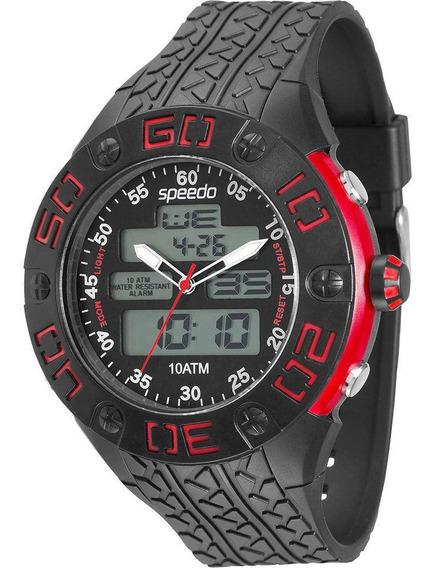 Relógio Masculino Speedo 81077g0egnp2 Anadigi Preto/vermelho