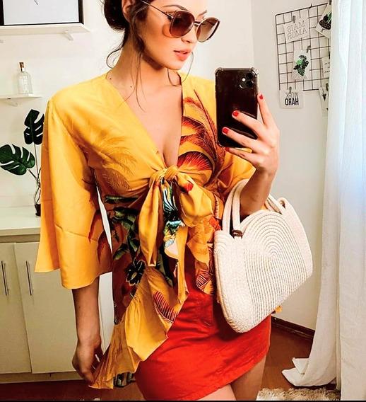 Blusa Feminina Lindíssima Tipo Kimono Mullet