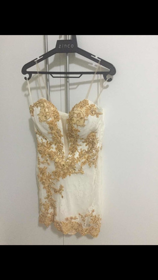 Vestido Em Renda Branco C Bordados Dourados Lia Rabelo