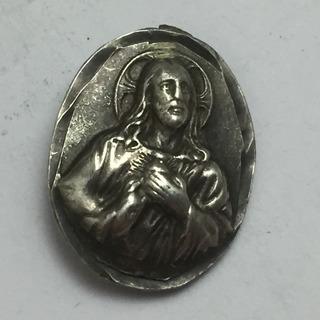 Medalla Antigua Religiosa Cristo Y Virgen Maria Plata 2.3 G