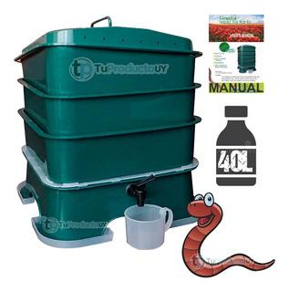Compostera Lombriz Compost 3 Bandejas Organico Verde