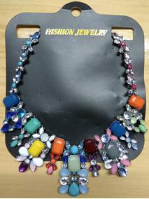 Fashion Colar Aço E Pedras Coloridas