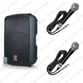Caixa Ativa Staner Sr315a 300w + 2 Microfones Tag Tm 584