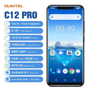 Oukitel C12 Pro Smartphone 4g 6.18 19:9 Android 8.1 Face Id