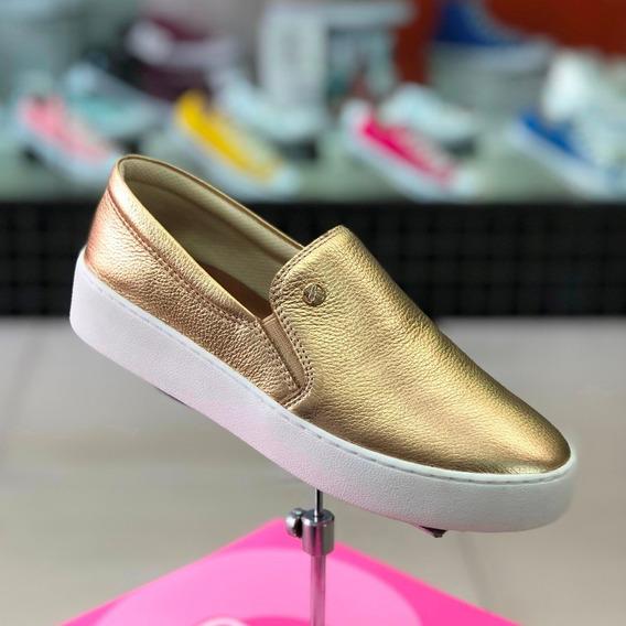Tênis Bottero Dourado Metalizado Couro Slip On - Lj Atitude