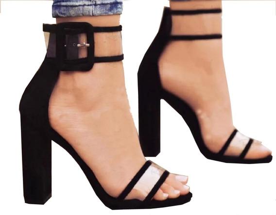 Sandalia Salto Grosso Salto 9cm - Envio Até 6 Dias