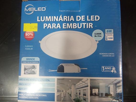 Luminária De Led P/ Embutir Mbled 420lm 6x Equivale 18w