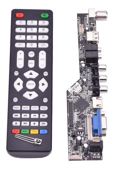 Placa De Driver Do Controlador De Tv Lcd Universal V53