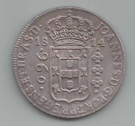 Moeda Prata Brasil - 960 Réis (patacão) - 1814 B - V. 24