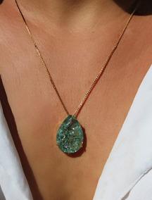 Colar De Pedra Verde Colombiana Folheado Em Ouro 18k