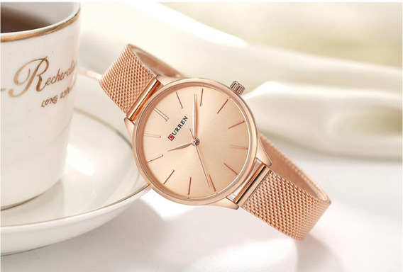 Relógio Feminino Curren Luxo Rose Elegante Fino 36mm Na Cx.