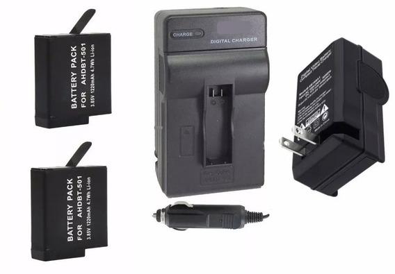 Kit 2 Baterias + 1 Carregador P/ Câmera Gopro Hero 6 Sessio